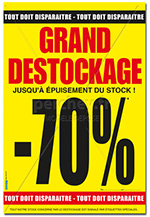 "Affiche Soldes : "" Grand Destockage -70% "" - 46 X  68"