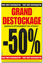 "Affiche Soldes : "" Grand Destockage -50% "" - 46 x 68"