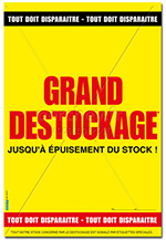 "Affiche Soldes : "" Grand Destockage "" - 46 x 68"