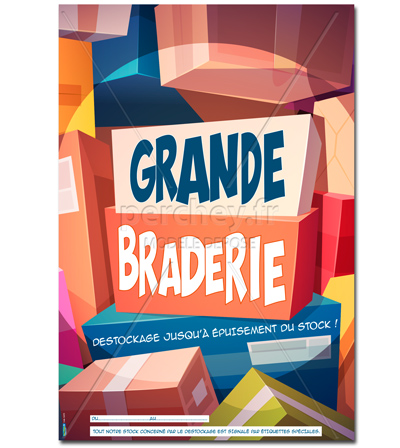 Affiche Promotion Braderie Cartoon - 46 x 68